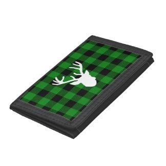 Green Buffalo Plaid Deer Head Trifold Wallet
