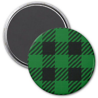 Green Buffalo Plaid 3 Inch Round Magnet
