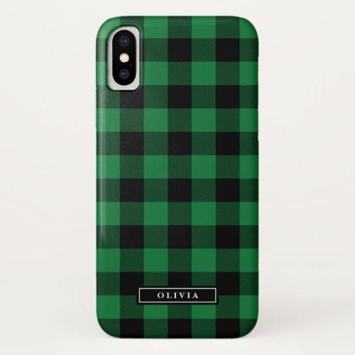 Green Buffalo Plaid Pattern Name Phone Case