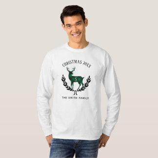 Green Buffalo Plaid Stag Monogram T-Shirt