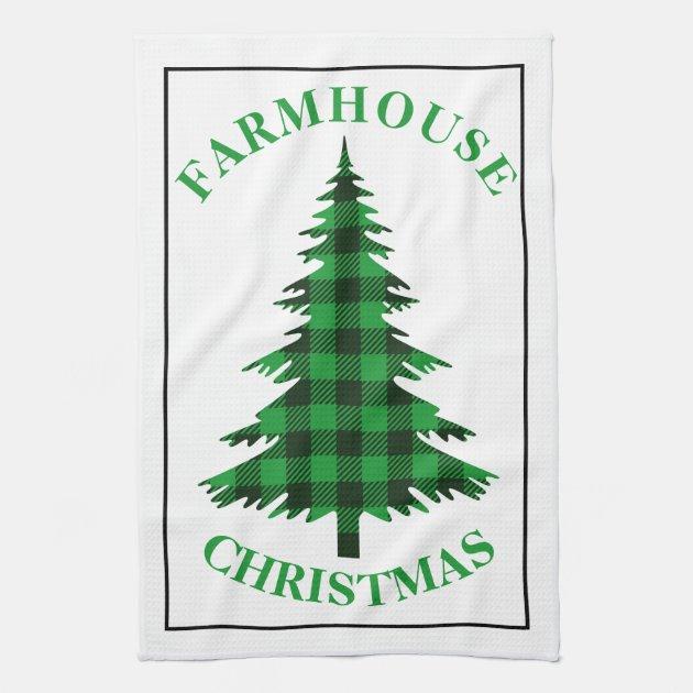Green Buffalo Plaid Tree Farmhouse Christmas Kitchen Towel Zazzle Com