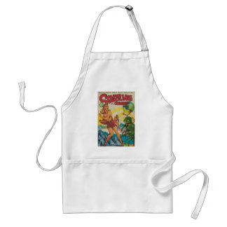 Green Bug Eyed Moon Monsters Adult Apron