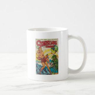 Green Bug Eyed Moon Monsters Coffee Mug