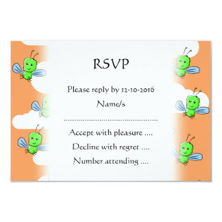 Green Bugs and Orange Sky. 3.5x5 Paper Invitation Card