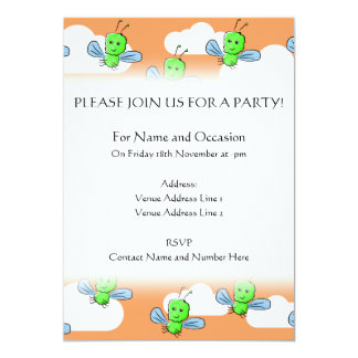 Green Bugs and Orange Sky. 5x7 Paper Invitation Card