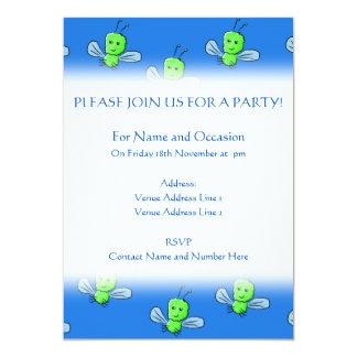 Green Bugs Pattern 5x7 Paper Invitation Card
