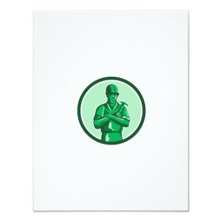 Green Builder Holding Hammer Circle Retro Card