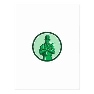 Green Builder Holding Hammer Circle Retro Postcard