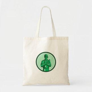 Green Builder Holding Hammer Circle Retro Tote Bag