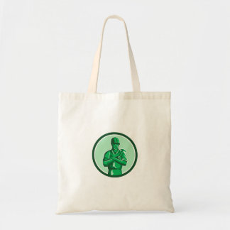 Green Builder Holding Hammer Circle Retro Tote Bag