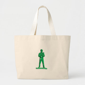 Green Builder Holding Hammer Retro Large Tote Bag