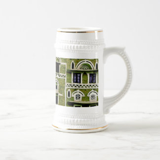 green building detail beer stein