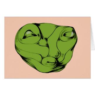 Green Bulgy Eyed Alien Card