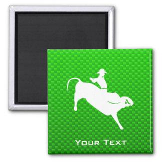 Green Bull Rider 2 Inch Square Magnet