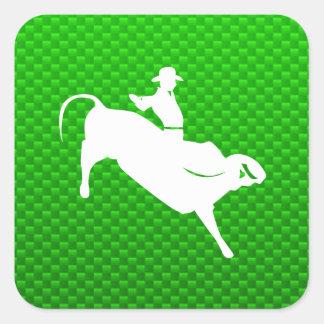 Green Bull Rider Square Stickers
