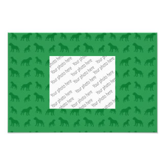 Green bulldog pattern photo print