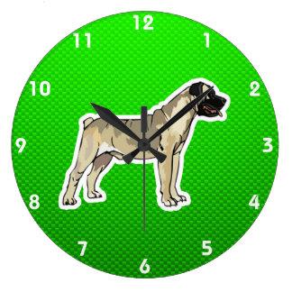 Green Bullmastiff Large Clock