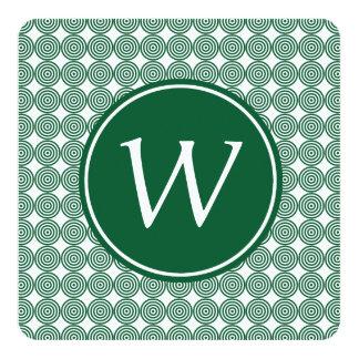 Green Bullseye Monogrammed Square white type Card