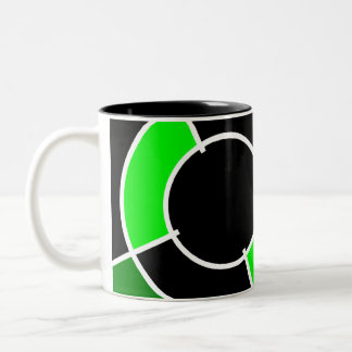 green bullseye Two-Tone coffee mug