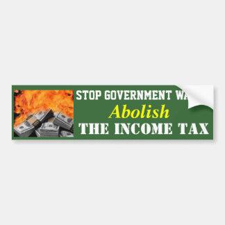 """Green Bumper Sticker- """"Abolish the Income Tax"""" Car Bumper Sticker"""