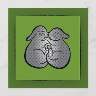 Green Bunnies Polka dots GREETING, Wedding, Easter Holiday Card