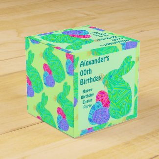 Green Bunny Easter Theme Birthday Party Favor Box