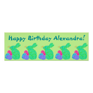 Green Bunny Easter Themed Birthday Party Banner Print