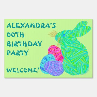 Green Bunny Easter Themed Birthday Party Yard Sign
