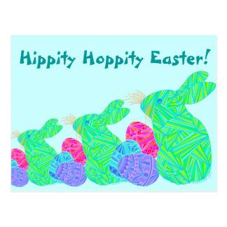 Green Bunny Hippity Hoppity Easter Post Card