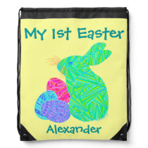 Green Bunny Personalized My First Easter Backpack