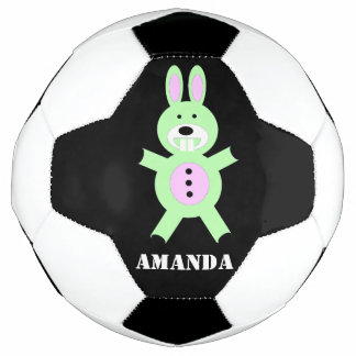 Green bunny personalized soccer ball