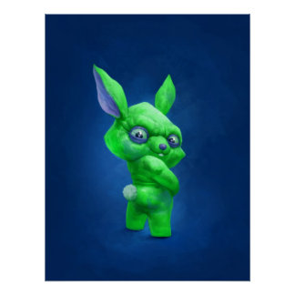 green bunny poster