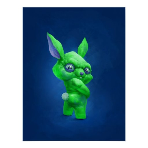 green bunny posters