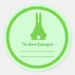 Green Bunny Round Sticker