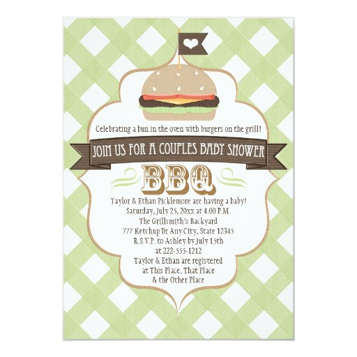 Couples Bbq Baby Shower: Green Burger Couples BBQ Baby Shower Invitations