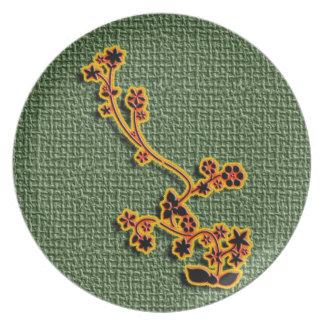 Green Burlap Floral plate