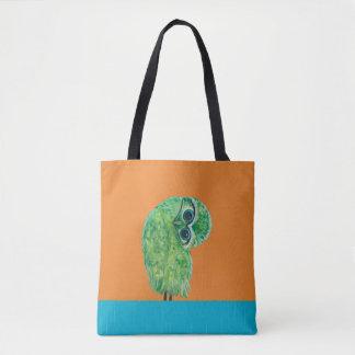 Green Burrowing Owl Coastal Art Tote Bag