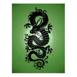 Green Burst Chinese Dragon Postcard