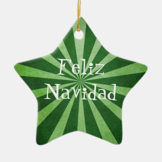 Green Burst Feliz Navidad Christmas Ornament