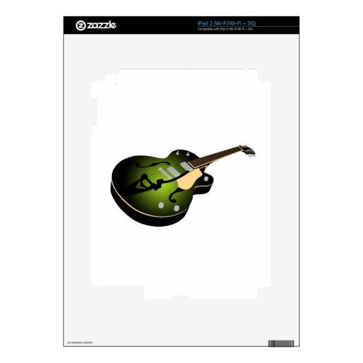 Green Burst Guitar iPad 2 Decals