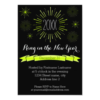 Green Bursts New Year's Eve Party Invitation