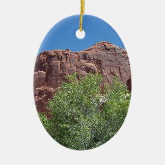 Green Bush and Red Rock Ceramic Ornament