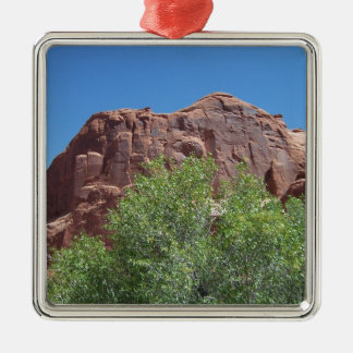 Green Bush and Red Rock Metal Ornament