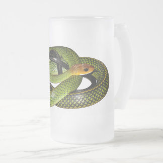 Green Bush Rat Snake Frosted Glass Beer Mug