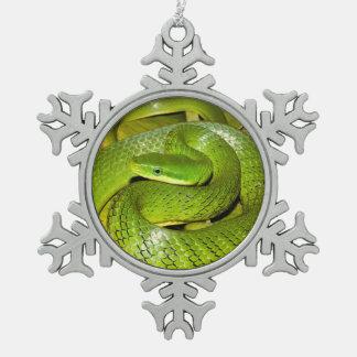 Green Bush Rat Snake Snowflake Pewter Christmas Ornament