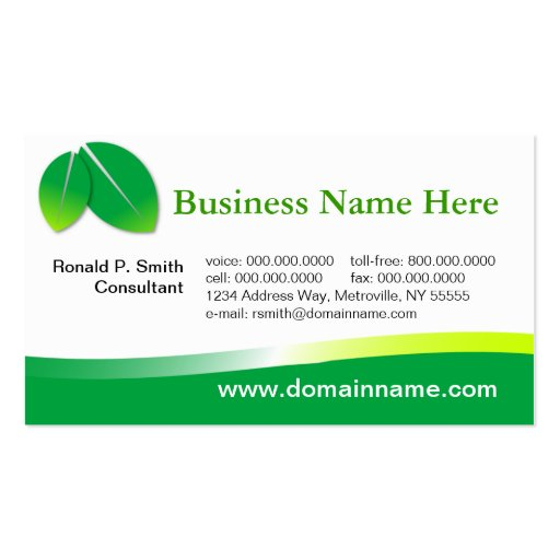 Green business card zazzle for Sustainable business cards