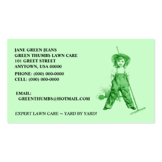 GREEN BUSINESS CARDS HEIRLOOM ORGANIC LAWNCARE +