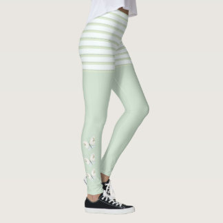 Green Butterflies and Stripes Leggings