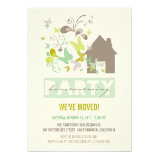 Green Butterflies Burst House Warming Party Invite Invite