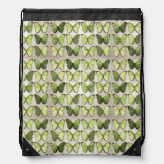 Green Butterflies Drawstring Backpack